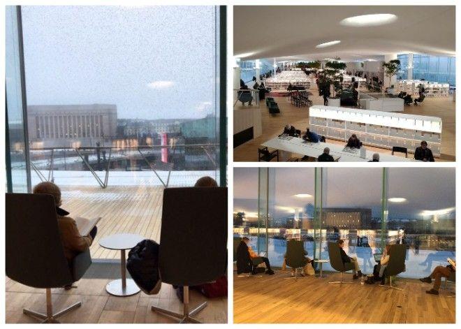 В читальном зале организовали удобные места для чтения книг Центральная библиотека Oodi Хельсинки
