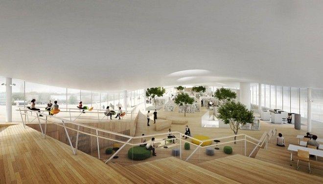 Третий этаж отдан под огромный читальный зал Центральная библиотека Oodi Хельсинки Фото artandhousesru