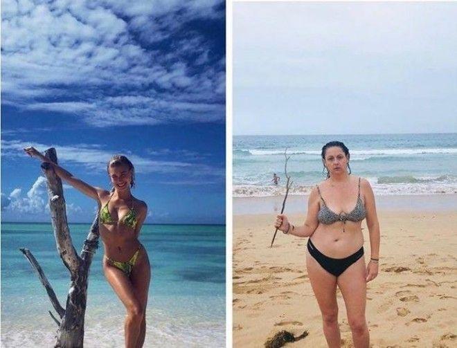 Без комплексов женщина пародирует фото гламурных красавиц из Instagram